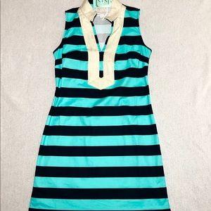 NWT Lilly Pulitzer Navy Green Gold Trim Dress Sz M